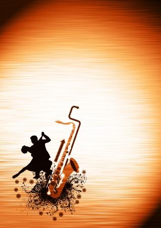 columpio: Cartel danza Spirited: parejas y backgrond saxofón con el espacio