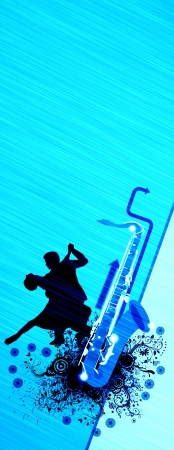 Spirited dance poster: couples and saxophone backgrond with space Stock Photo - 15469373