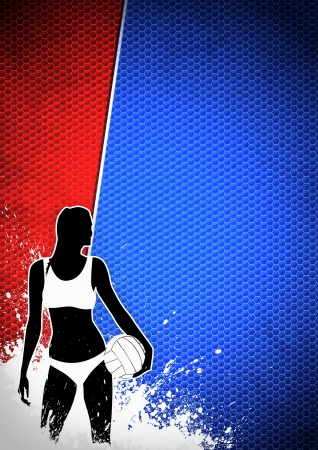 Beach volleybal poster: ball and people background with space photo