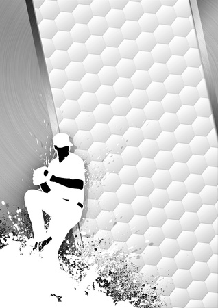 Sport poster: Baseball player gray background with space photo