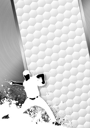 mounds: Sport poster: Baseball player gray background with space
