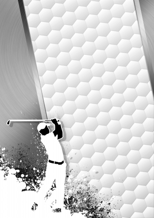 Golfclub poster: Man golf swing grayscale background with space