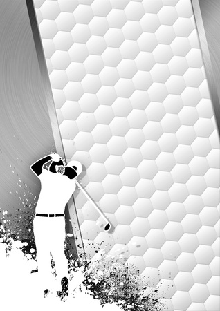 Golfclub poster: Man golf swing grayscale background with space  photo