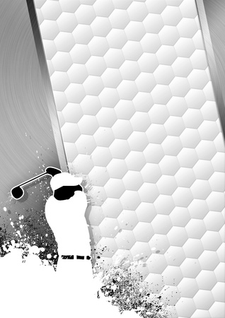 Golfclub poster: Man golf swing grayscale background with space  Stock Photo - 15469389