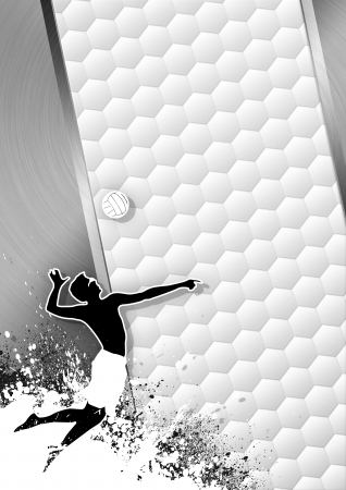 Beach volleybal escala de grises cartel: blanco bola y la gente con el espacio photo