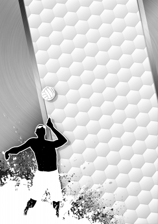 Beach volleybal grayscale poster: ball and people background with space photo