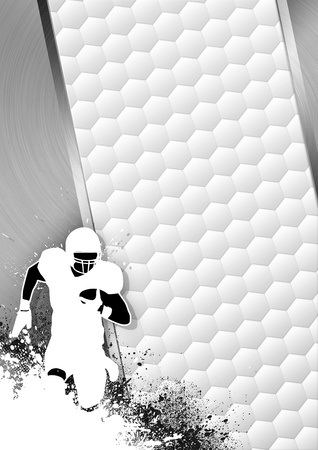 American football sport gray poster: running man and ball grunge background with space photo