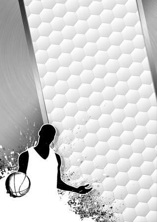 Basketball sport grayscale poster: man and ball grunge background withs space photo