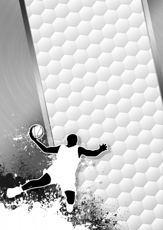 Basketball sport grayscale poster: man and ball grunge background withs space Stock Photo - 15469540