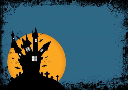 Halloween poster: haunted house and moon background with space Stock Photo - 15591928