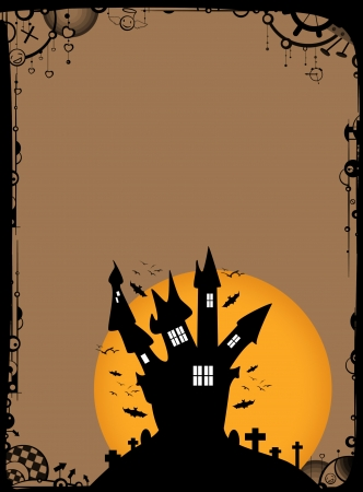 Halloween poster: haunted house and moon background with space photo