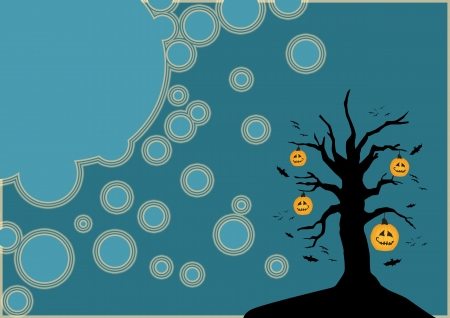 Halloween poster: pumpkin tree background with space photo