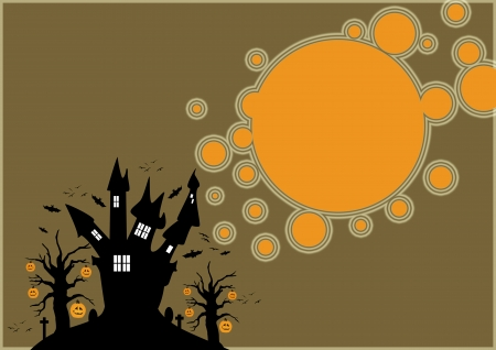 Halloween poster:  haunted castle and pumpkin trees background with space photo