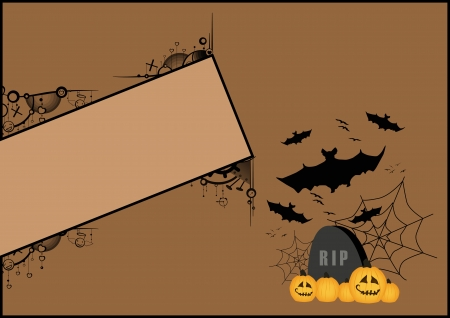 Halloween poster: tombstone, bat and spider web background with space photo
