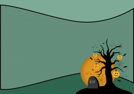 Halloween poster: pumpkin tree and tombstone background with space photo