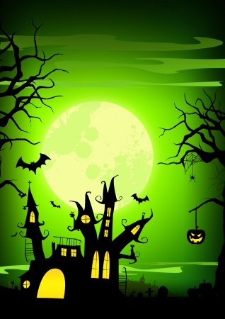 spook: Halloween poster  haunted castle, pumpkin and bats background with space
