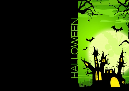 Halloween poster  haunted castle, pumpkin and bats background with space Stock Photo - 15650573