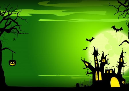 Halloween poster  haunted castle, pumpkin and bats background with space photo