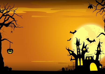 Halloween poster  haunted castle, pumpkin and bats background with space