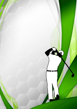 tournament: Golf poster  golfer shooting background with space Stock Photo