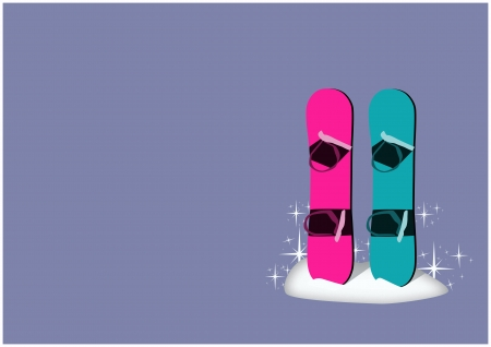 snowboarder: Winter camp poster: snowboard background with space Stock Photo