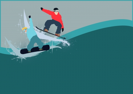 Winter sport poster: man and snowboard background with space Stock Photo - 15700894
