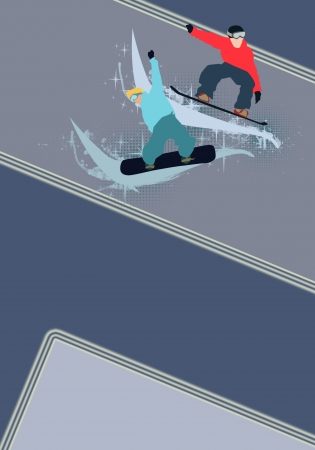 Winter sport poster: man and snowboard background with space Stock Photo - 15701009
