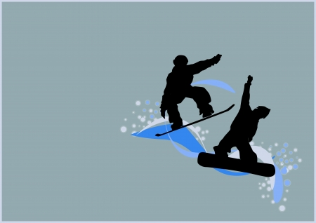 Winter sport poster: man and snowboard background with space Stock Photo - 15701007