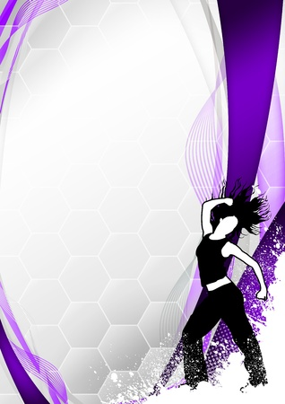 street dance: Zumba fitness or dance poster background with space Stock Photo