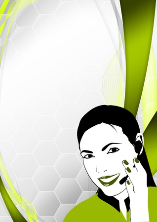 technical service: Color call center woman background with space Stock Photo