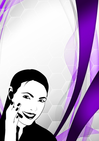 callcenter: Color call center woman background with space Stock Photo