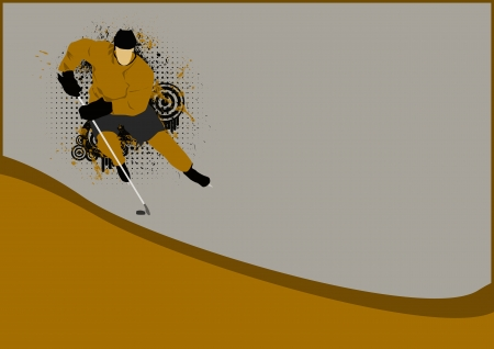 Hockey poster: player on ice background with space photo