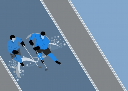 ice hockey player: Hockey poster: player on ice background with space Stock Photo