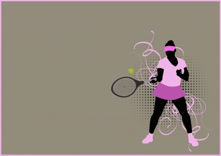 Tennis sport poster: serve woman background with space photo