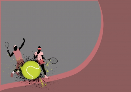 Tennis sport poster: man and woman background with space Stock Photo - 16251545