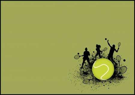 raqueta de tenis: Tenis cartel deporte: Fondo de hombre y mujer con el espacio