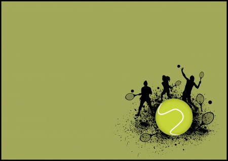 tennis serve: Tennis sport poster: man and woman background with space