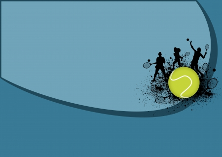Tennis sport poster: man and woman background with space photo