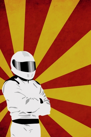 motorsports: Motorsport driver poster color background with space Stock Photo