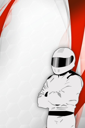 Motorsport driver poster color background with space photo