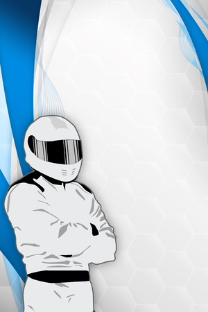 Motorsport driver poster color background with space Stock Photo