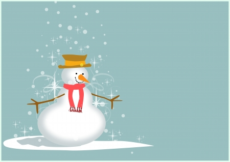 Merry Christmas poster: snowman background with space photo
