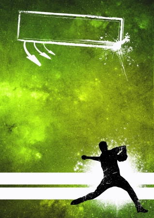 Sport poster: Baseball player grunge background with space photo