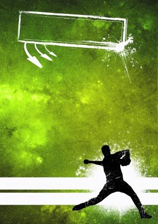 baseball stadium: Sport poster: Baseball player grunge background with space Stock Photo