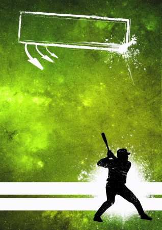 Sport poster: Baseball player grunge background with space Stock Photo