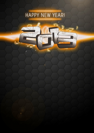 after midnight: Happy new year 2013 party invitation card or poster background with space