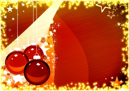 Color merry christmas card with ball background  Stock Photo - 16703860