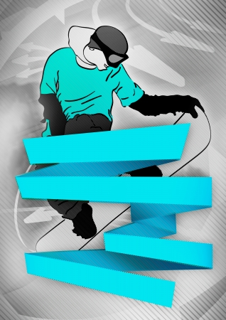Abstract snowboard winter tour poster background with space photo