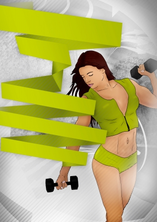 Abstract green fitness girl training poster background with space photo