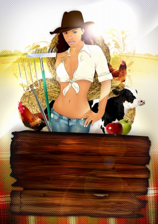 Country farm party poster background with sexy cowgirl